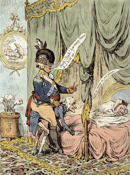 Gillray, 1796. Fashionable Jockeyship. This caricature depicts Lord Jersey carrying the Prince of Wales (later Prince Regent) to his wife's bed. The horns the prince is depicting are the sign of cuckold.