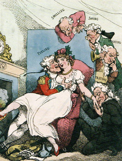 Rolandson, 1800. Gratification of the Senses a la Mode Francois (Ackermann, 1800)